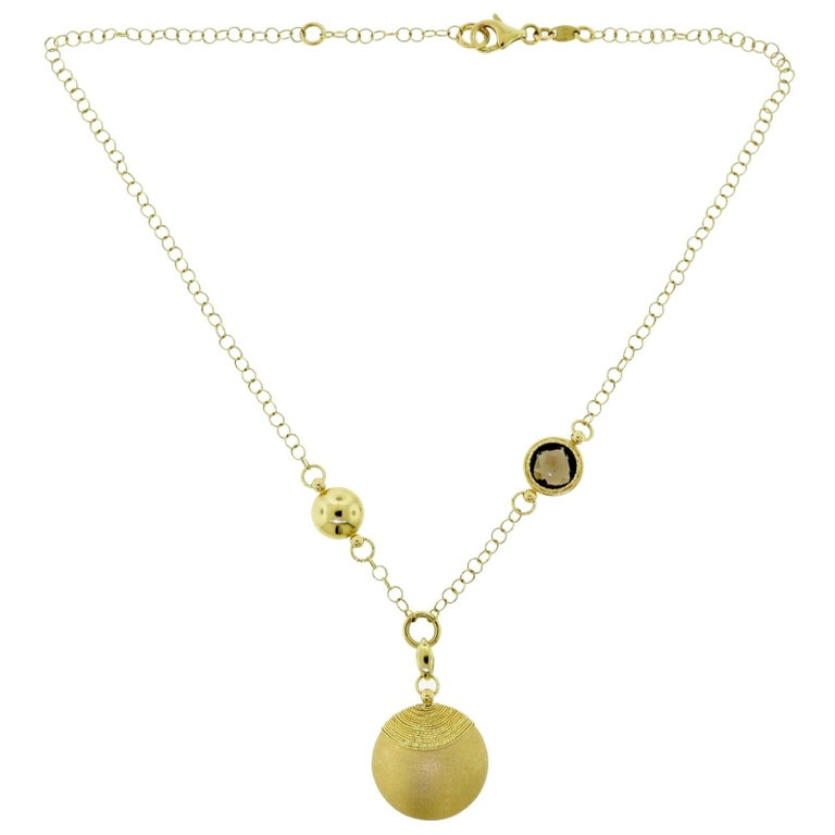 Yellow Gold, Quartz, and Diamond Circles Necklace For Sale