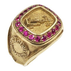 Yellow Gold Race Car Champion Ring Owned and Worn by Hollwood Icon Burt Reynolds