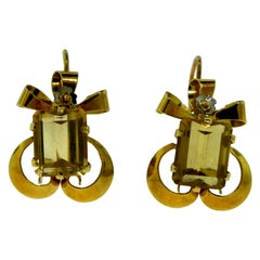 Yellow Gold Rectangular Citrine Bow Tie Cocktail Earrings