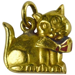 Yellow Gold Red Enamel Cat Charm Pendant