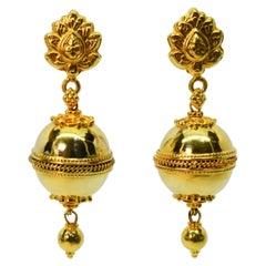 Yellow Gold Regal Ball Double Drop Earrings