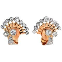 Yellow Gold Retro Old Cut Diamond Fan Earrings 7.00 Carat
