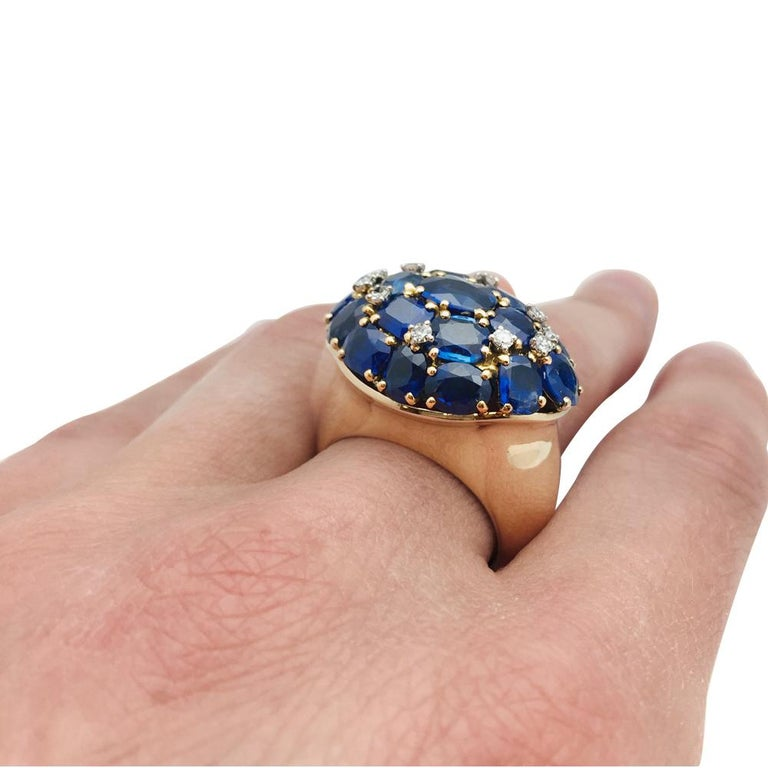 Yellow Gold Ring, Sapphires and Diamonds For Sale 1
