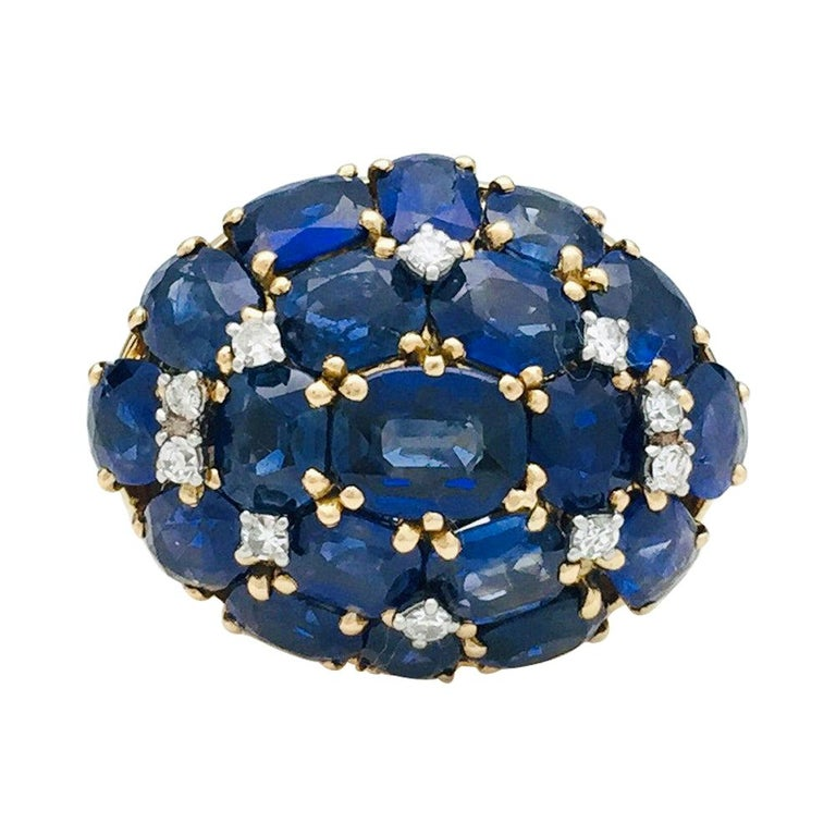 Yellow Gold Ring, Sapphires and Diamonds For Sale