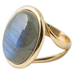 Yellow Gold Ring Surmounted by a Pink Labradorite Shape Cabochon