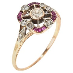 Yellow Gold Ring with Diamonds and Rubies, 18 Carat, circa 1900