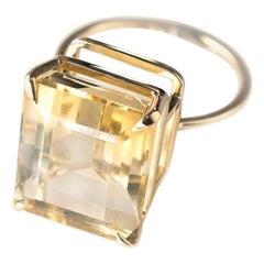 Yellow Gold Ring with Emerald Cut Shape 11.63 Carat Citrine