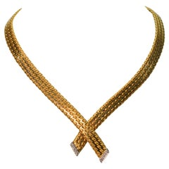 Yellow Gold Rope Bow Tie Choker Necklace with Diamond White Gold Accents