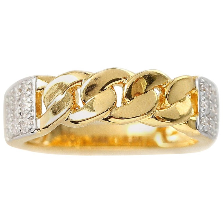 Yellow Gold Rope-Style Ring with Diamonds, 14 Karat For Sale