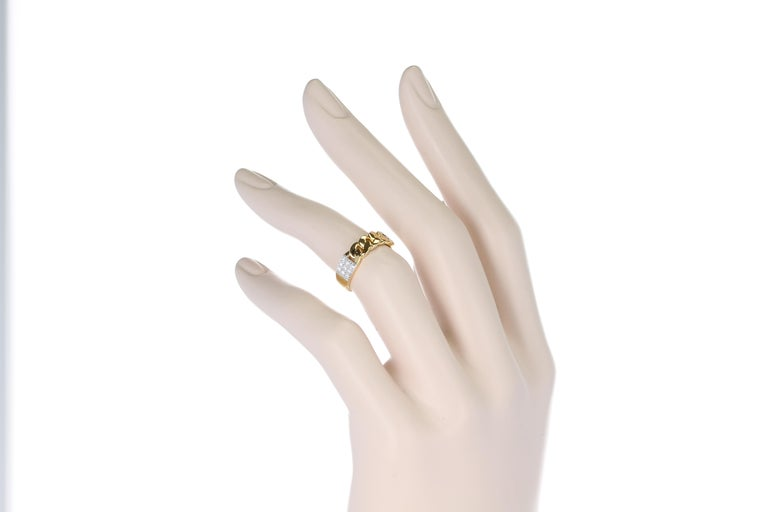 Yellow Gold Rope-Style Ring with Diamonds, 14 Karat For Sale 5