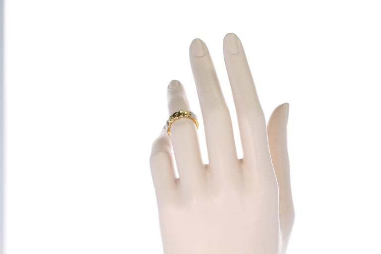 Yellow Gold Rope-Style Ring with Diamonds, 14 Karat For Sale 6