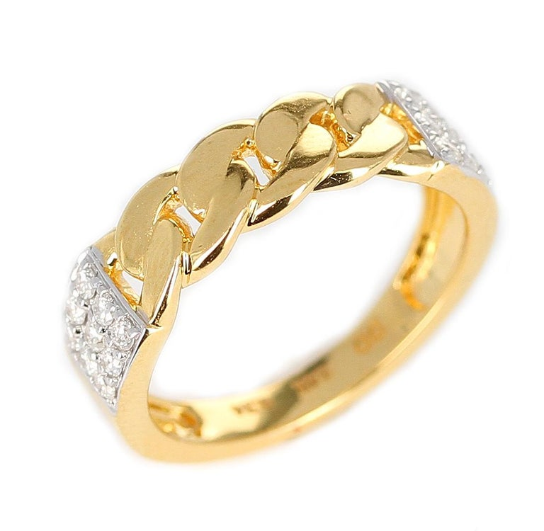 A knot-style ring with 14K Yellow Gold and a square diamond design on both sides. Diamond Weight: 0.24 cts Diamonds. Ring Size 6. Signed D'D for D'Deco Jewels. Metal type and stones can be customized.