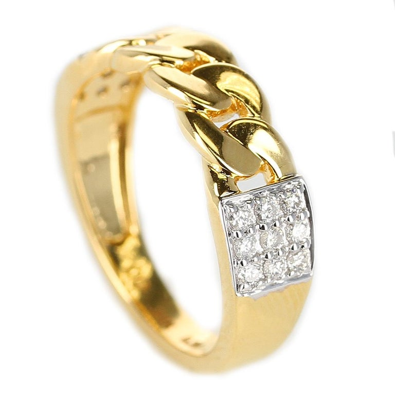 Yellow Gold Rope-Style Ring with Diamonds, 14 Karat In New Condition For Sale In New York, NY