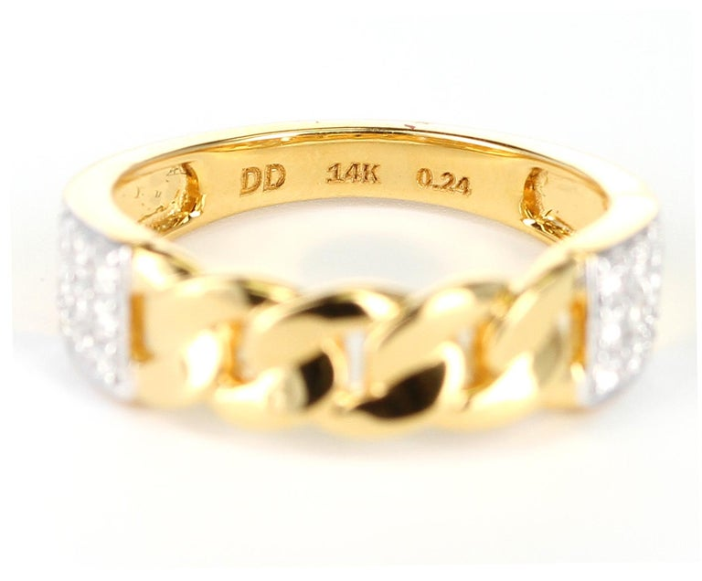 Women's or Men's Yellow Gold Rope-Style Ring with Diamonds, 14 Karat For Sale
