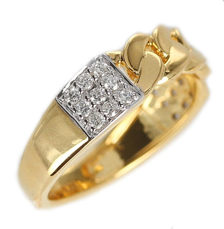 Yellow Gold Rope-Style Ring with Diamonds, 14 Karat For Sale 2