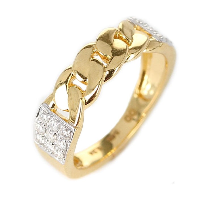 Yellow Gold Rope-Style Ring with Diamonds, 14 Karat For Sale 3