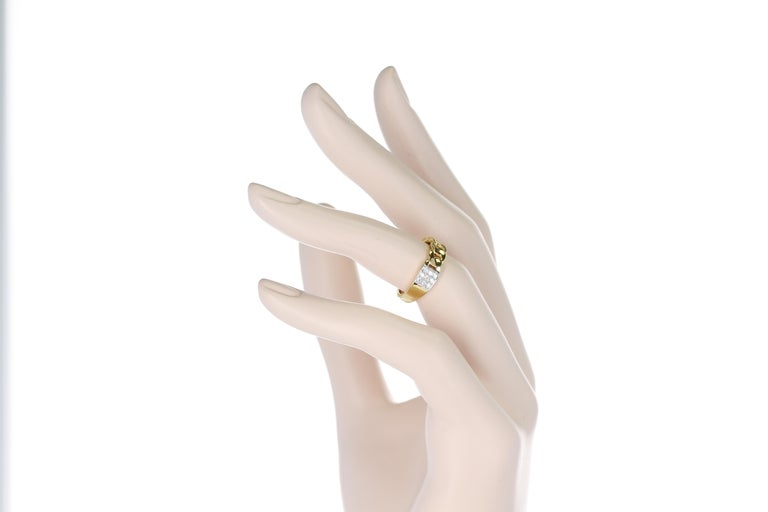 Yellow Gold Rope-Style Ring with Diamonds, 14 Karat For Sale 4