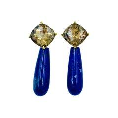 Yellow Gold Rose Cut Smokey Quartz and Lapis Lazuli Smooth Briolette