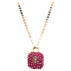 Yellow Gold Round Disc Chain with Ruby Beaded Padlock Charm