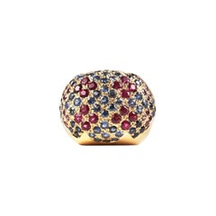 Yellow Gold Rubelite Blue and Pink Sapphire Dome Cocktail Ring