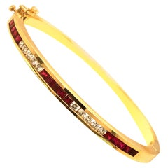 Yellow Gold Ruby and Diamond Bangle Bracelet