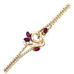 Yellow Gold Ruby and Diamond Bracelet