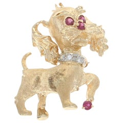 Yellow Gold Ruby and Diamond Dog Brooch, 14k Round Cut .24 Carat Pet Canine Pin