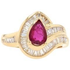 Yellow Gold Ruby and Diamond Halo Bypass Ring, 18 Karat Pear Cut 1.48 Carat