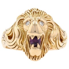 Yellow Gold Ruby and Diamond Lion's Head Ring, 14kt .35ct Round Brilliant Men's