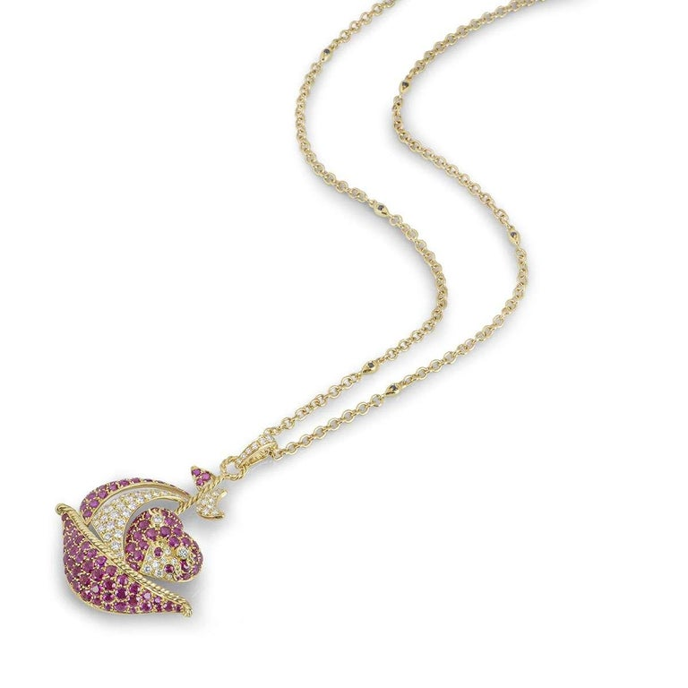 Round Cut Yellow Gold Ruby and Diamond Sailing Boat Pendant For Sale