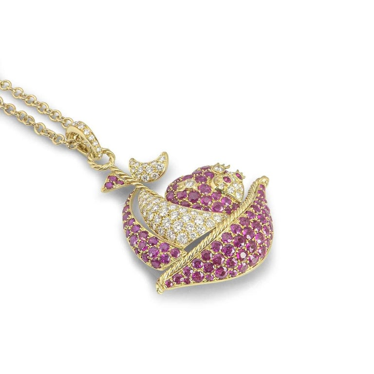 Yellow Gold Ruby and Diamond Sailing Boat Pendant In Excellent Condition For Sale In London, GB