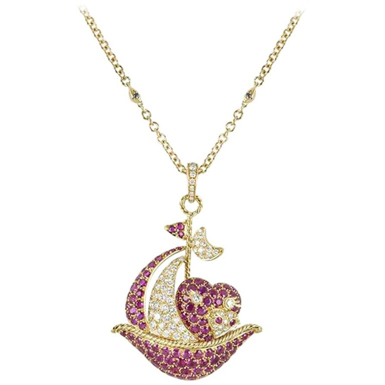 Yellow Gold Ruby and Diamond Sailing Boat Pendant For Sale