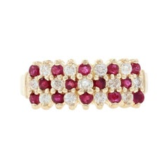 Yellow Gold Ruby & Diamond Cluster Ring - 14k Round .89ctw Tiered Checkerboard