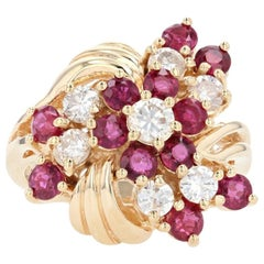Yellow Gold Ruby & Diamond Floral Cluster Halo Bypass Ring, 14k Round 2.47 Carat