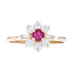 Yellow Gold Ruby & Diamond Flower Halo Ring, 14k Round Cut .66ctw