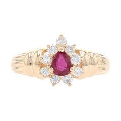 Yellow Gold Ruby & Diamond Halo Ring - 14k Pear Cut .76ctw