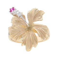 Yellow Gold Ruby & Diamond Hibiscus Flower Ring, 14k Round Brilliant .14ctw