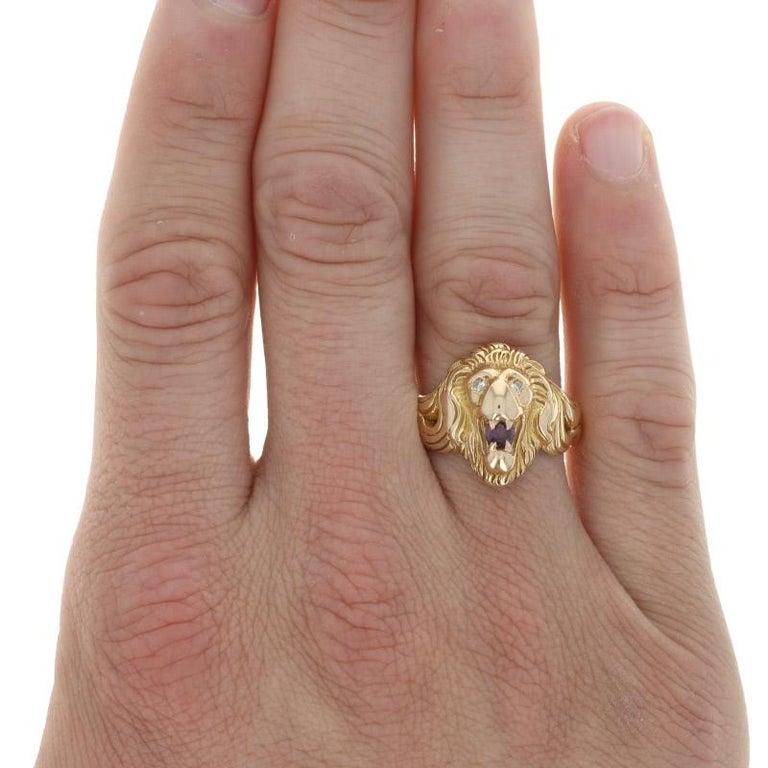 Uncut Yellow Gold Ruby & Diamond Lion's Head Ring, 14k .35ctw Round Brilliant Men's