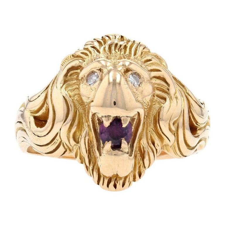 Yellow Gold Ruby & Diamond Lion's Head Ring, 14k .35ctw Round Brilliant Men's