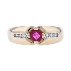 Yellow Gold Ruby & Diamond Men's Ring, 14k Square Cut .55ctw