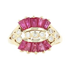 Yellow Gold Ruby & Diamond Ring - 14k Tapered Baguette Cut 2.14ctw Contoured
