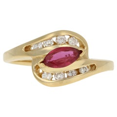 Yellow Gold Ruby & Diamond Ring, 18k Marquise Cut .67ctw Bypass