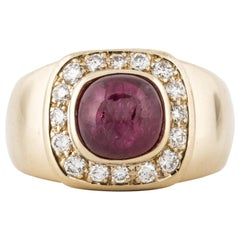 14K Yellow Gold Cabochon Ruby and Diamond Ring