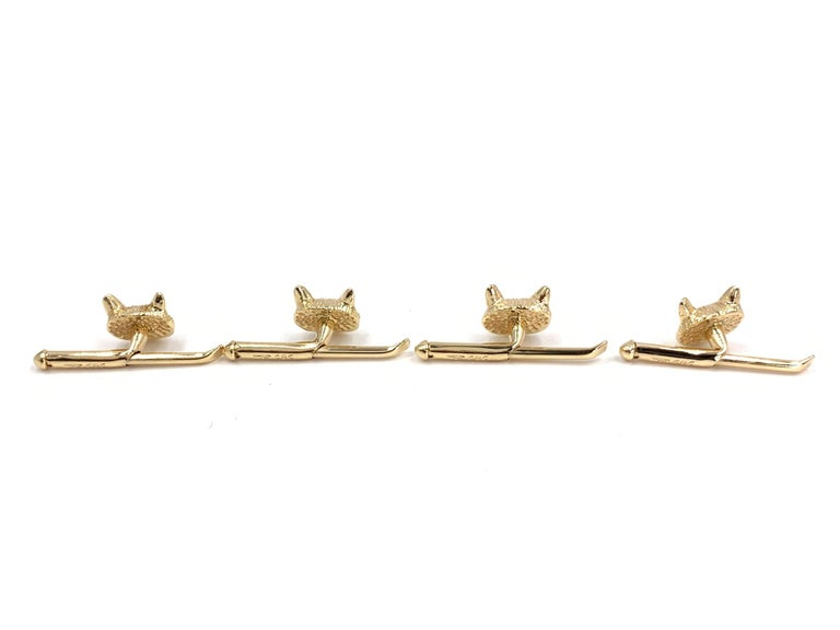 Round Cut Yellow Gold and Ruby Fox Head Shirt Studs, Set of 4 For Sale