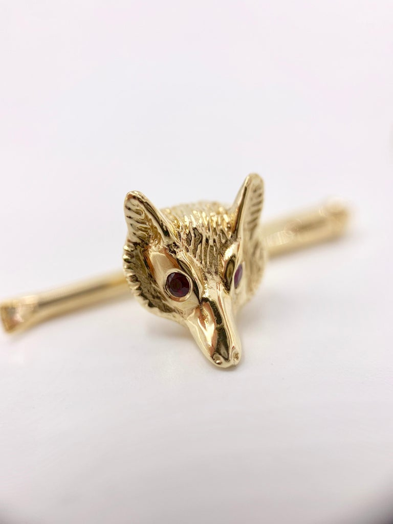 Yellow Gold and Ruby Fox Head Shirt Studs, Set of 4 In Excellent Condition For Sale In Pikesville, MD