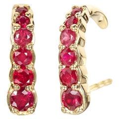 Yellow Gold Ruby Hook Earrings