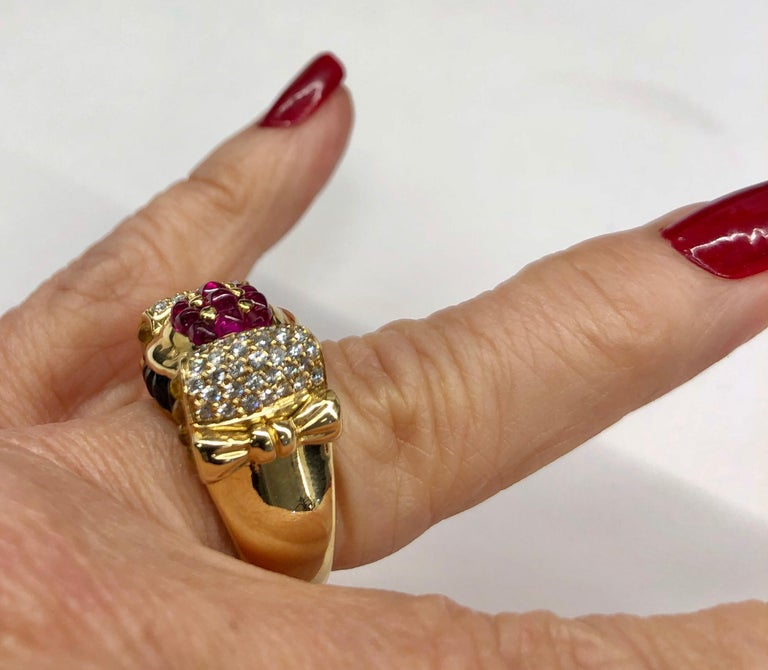 Yellow Gold Ruby Sapphire Diamond Ring For Sale 1
