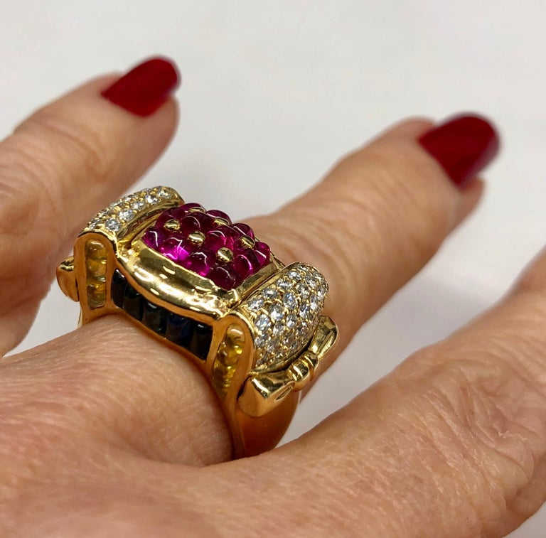 Yellow Gold Ruby Sapphire Diamond Ring For Sale 2