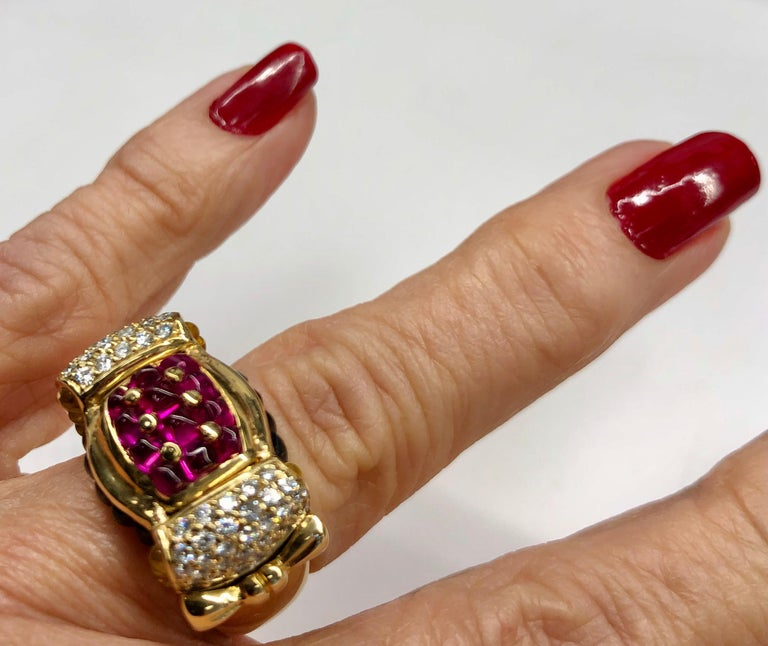 Yellow Gold Ruby Sapphire Diamond Ring For Sale 3