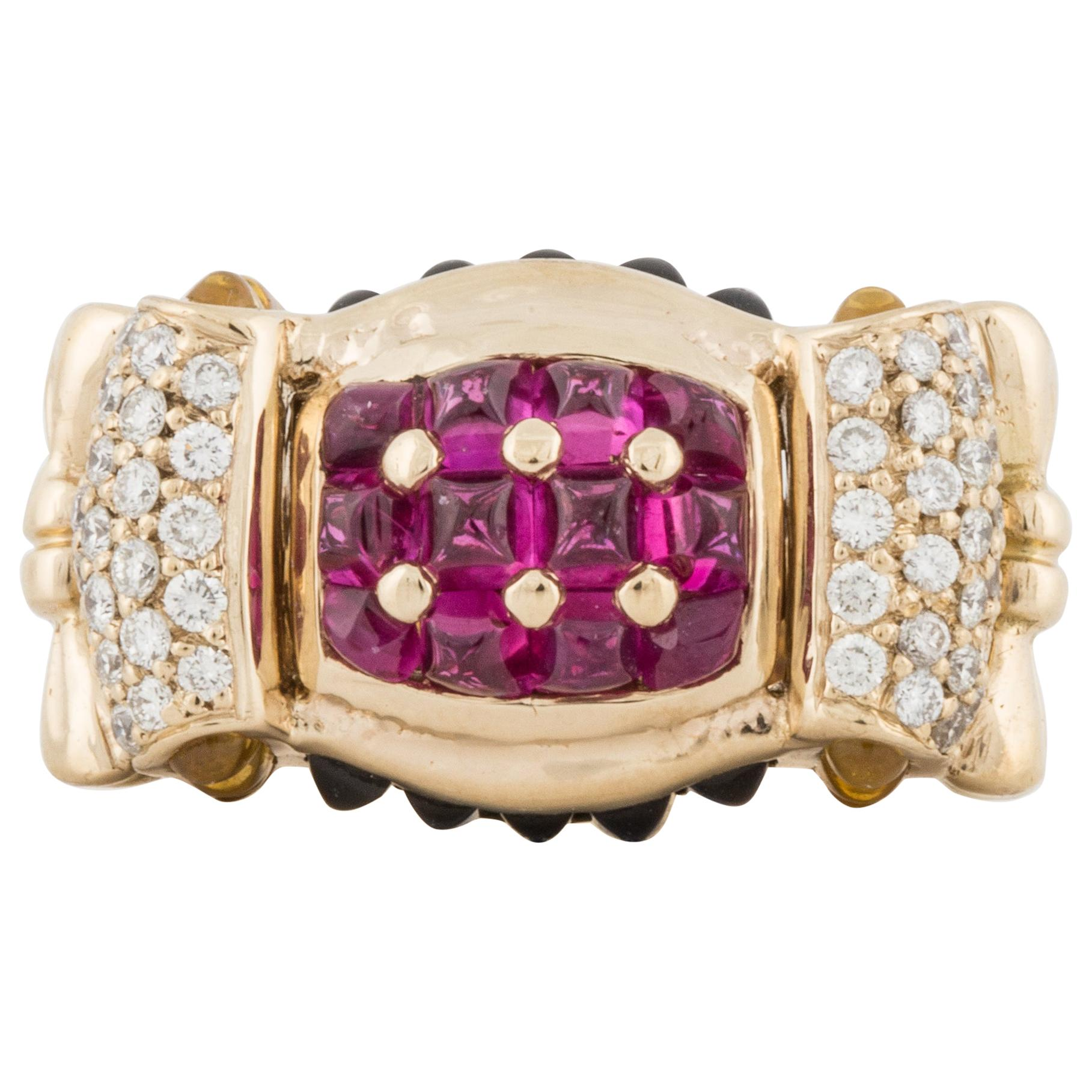 18K Yellow Gold Ruby Sapphire and Diamond Ring